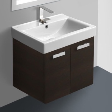 24 Inch Wenge Wall Mount Bathroom Vanity with Fitted Ceramic Sink