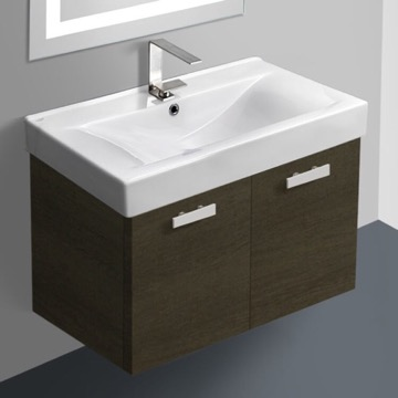 32 Inch Grey Oak Wall Mount Bathroom Vanity with Fitted Ceramic Sink