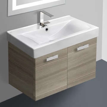 32 Inch Larch Canapa Wall Mount Bathroom Vanity with Fitted Ceramic Sink