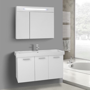 39 Inch Glossy White Wall Mount Bathroom Vanity with Fitted Ceramic Sink, Lighted Medicine Cabinet Included