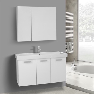 39 Inch Glossy White Wall Mount Bathroom Vanity with Fitted Ceramic Sink, Medicine Cabinet Included