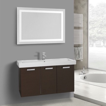 39 Inch Wenge Wall Mount Bathroom Vanity with Fitted Ceramic Sink, Lighted Mirror Included