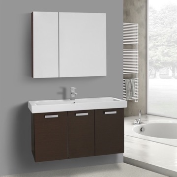 39 Inch Wenge Wall Mount Bathroom Vanity with Fitted Ceramic Sink, Medicine Cabinet Included