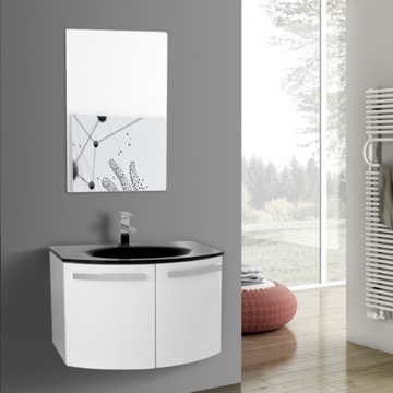 28 Inch Glossy White Bathroom Vanity with Black Glass Top, Mirror Included