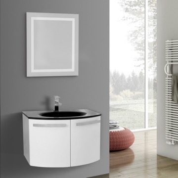 28 Inch Glossy White Bathroom Vanity with Black Glass Top, Lighted Mirror Included