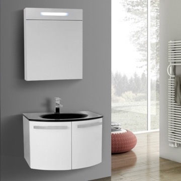 28 Inch Glossy White Bathroom Vanity with Black Glass Top, Lighted Medicine Cabinet Included