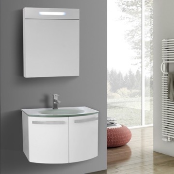 28 Inch Glossy White Bathroom Vanity With White Glass Top, Lighted Medicine  Cabinet Included