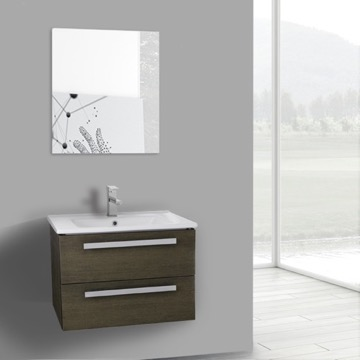 25 Inch Grey Oak Wall Mount Bathroom Vanity Set, 2 Drawers, Mirror Included