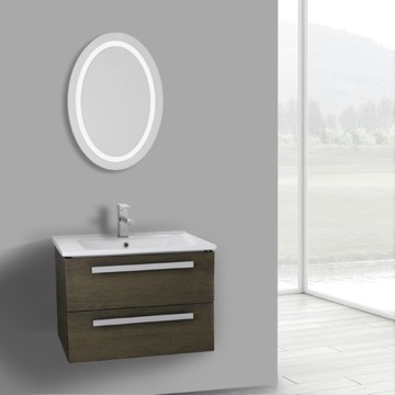 25 Inch Grey Oak Wall Mount Bathroom Vanity Set, 2 Drawers, Lighted Mirror Included