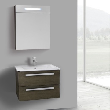 25 Inch Grey Oak Wall Mount Bathroom Vanity Set, 2 Drawers, Lighted Medicine Cabinet Included