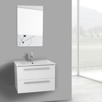 25 Inch Glossy White Wall Mount Bathroom Vanity Set, 2 Drawers, Mirror Included