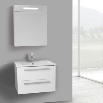 25 Inch Glossy White Wall Mount Bathroom Vanity Set, 2 Drawers, Lighted Medicine Cabinet Included