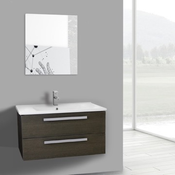 33 Inch Grey Oak Wall Mount Bathroom Vanity Set, 2 Drawers, Mirror Included