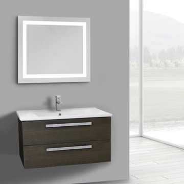 33 Inch Grey Oak Wall Mount Bathroom Vanity Set, 2 Drawers, Lighted Mirror Included