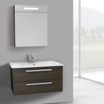 33 Inch Grey Oak Wall Mount Bathroom Vanity Set, 2 Drawers, Lighted Medicine Cabinet Included
