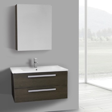 33 Inch Grey Oak Wall Mount Bathroom Vanity Set, 2 Drawers, Medicine Cabinet Included
