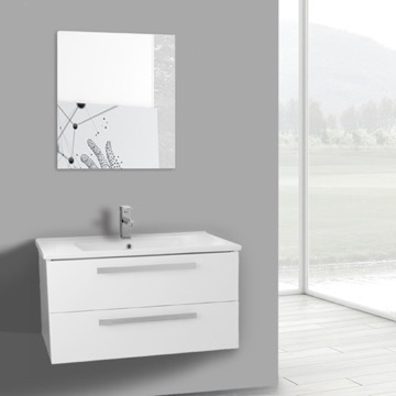33 Inch Glossy White Wall Mount Bathroom Vanity Set, 2 Drawers, Mirror Included