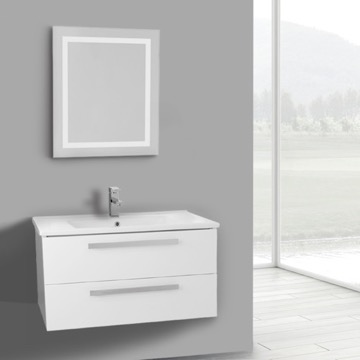 33 Inch Glossy White Wall Mount Bathroom Vanity Set, 2 Drawers, Lighted Mirror Included