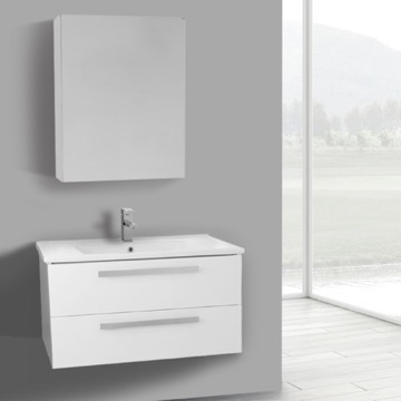 33 Inch Glossy White Wall Mount Bathroom Vanity Set, 2 Drawers, Medicine Cabinet Included