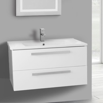 33 Inch Glossy White Wall Mount Bathroom Vanity Set, 2 Drawers