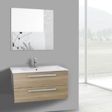 33 Inch Style Oak Wall Mount Bathroom Vanity Set, 2 Drawers, Mirror Included
