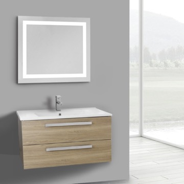 33 Inch Style Oak Wall Mount Bathroom Vanity Set, 2 Drawers, Lighted Mirror Included