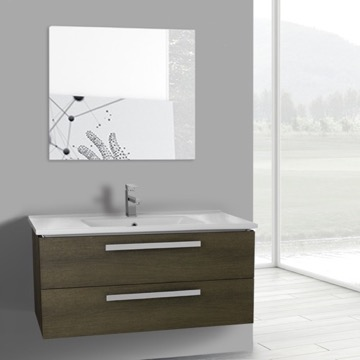 38 Inch Grey Oak Wall Mount Bathroom Vanity Set, 2 Drawers, Mirror Included