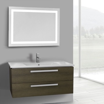38 Inch Grey Oak Wall Mount Bathroom Vanity Set, 2 Drawers, Lighted Mirror Included