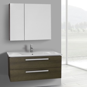38 Inch Grey Oak Wall Mount Bathroom Vanity Set, 2 Drawers, Medicine Cabinet Included