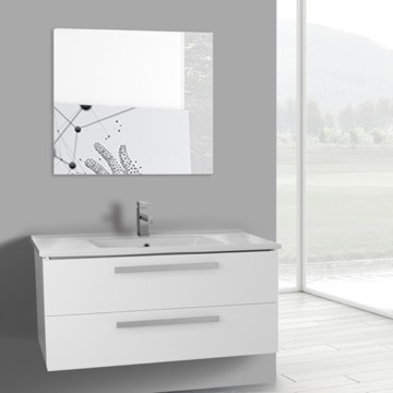 38 Inch Glossy White Wall Mount Bathroom Vanity Set, 2 Drawers, Mirror Included