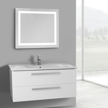 38 Inch Glossy White Wall Mount Bathroom Vanity Set, 2 Drawers, Lighted Mirror Included