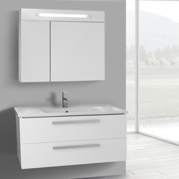 38 Inch Glossy White Wall Mount Bathroom Vanity Set, 2 Drawers, Lighted Medicine Cabinet Included