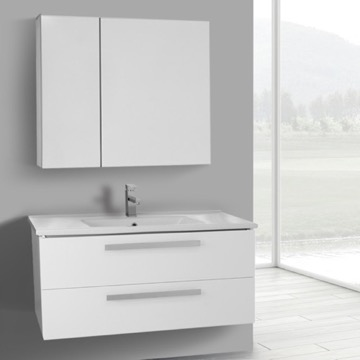 38 Inch Glossy White Wall Mount Bathroom Vanity Set, 2 Drawers, Medicine Cabinet Included