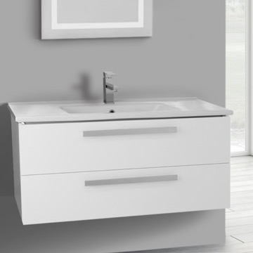 38 Inch Glossy White Wall Mount Bathroom Vanity Set, 2 Drawers