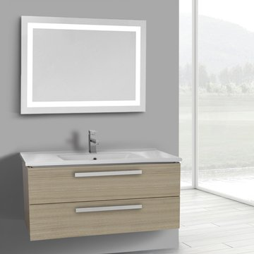 38 Inch Larch Canapa Wall Mount Bathroom Vanity Set, 2 Drawers, Lighted Mirror Included