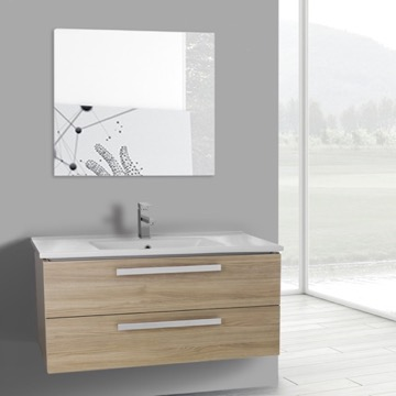 38 Inch Style Oak Wall Mount Bathroom Vanity Set, 2 Drawers, Mirror Included