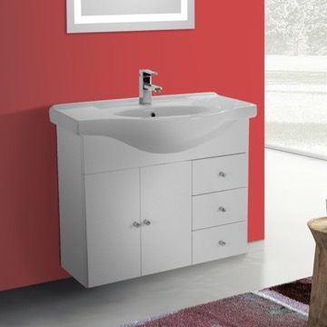 32 Inch Glossy White Wall Mounted Bathroom Vanity Set, Curved Sink