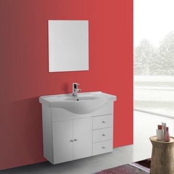 32 Inch Glossy White Wall Mounted Bathroom Vanity Set, Curved Sink, Mirror Included