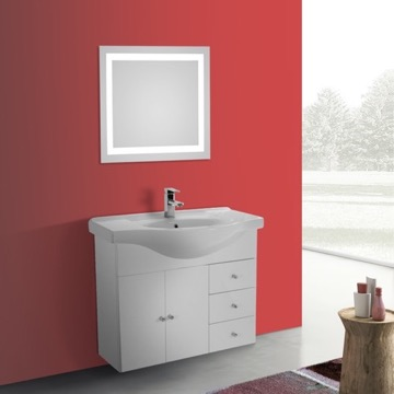 32 Inch Glossy White Wall Mounted Bathroom Vanity Set, Curved Sink, Lighted Mirror Included