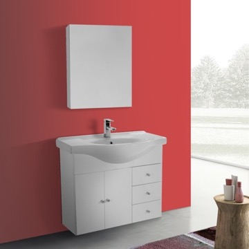 32 Inch Glossy White Wall Mounted Bathroom Vanity Set, Curved Sink, Medicine Cabinet Included