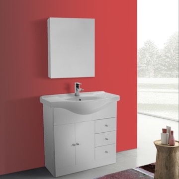 32 Inch Glossy White Floor Standing Bathroom Vanity Set, Curved Sink, Medicine Cabinet Included