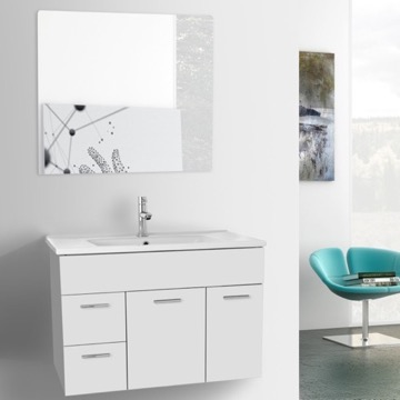 33 Inch Glossy White Bathroom Vanity Set, Wall Mounted, Mirror Included