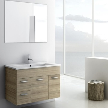 33 Inch Larch Canapa Bathroom Vanity Set, Wall Mounted, Mirror Included