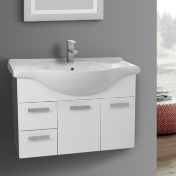 32 Inch Wall Mount Glossy White Bathroom Vanity Set