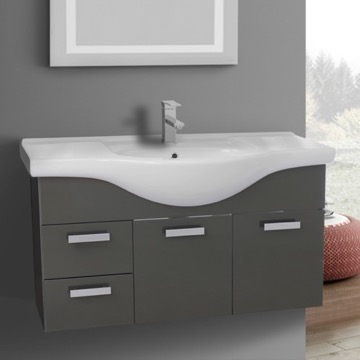 39 Inch Wall Mount Glossy Anthracite Bathroom Vanity Set