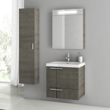 23 Inch Grey Oak Bathroom Vanity Set