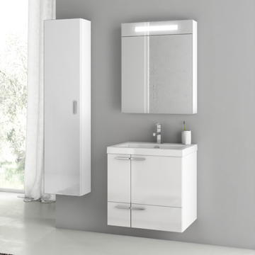 23 Inch Glossy White Bathroom Vanity Set