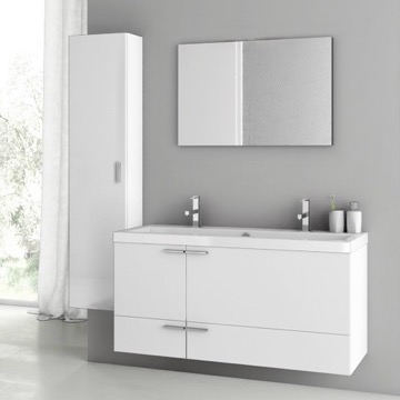 47 Inch Glossy White Bathroom Vanity Set