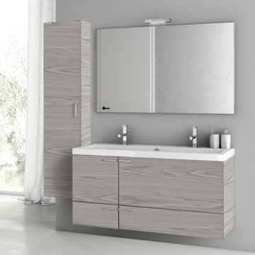 47 Inch Grey Walnut Bathroom Vanity Set