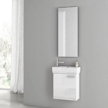 18 Inch Glossy White Bathroom Vanity Set